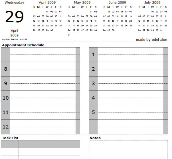 Excel daily calendar with tasks and notes – Daily Note Template