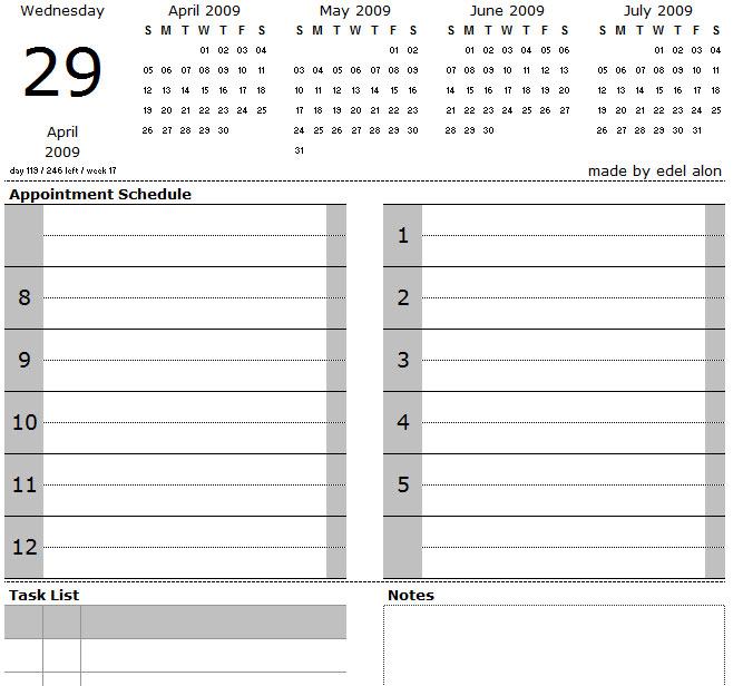image relating to Calendar Notes named Excel Day by day Calendar with Initiatives and Notes Edel Alon