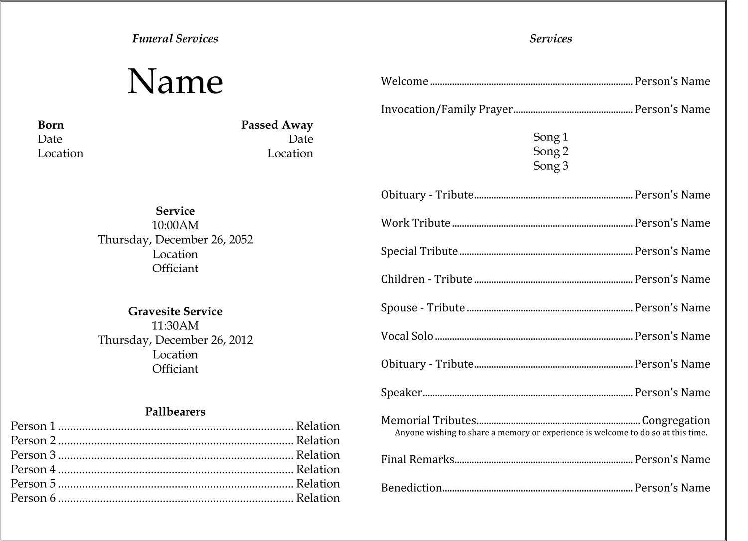 Funeral template edel alon heres a template i use for funeralmemorial services maxwellsz